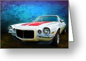 Custom Chev Greeting Cards - White Camaro Greeting Card by Stuart Row