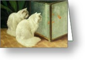 Animals Greeting Cards - White Cats Watching Goldfish Greeting Card by Arthur Heyer
