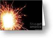 Pyrotechnics Greeting Cards - White Center Greeting Card by Susan Herber
