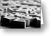 Gray Greeting Cards - White Ceramic Letters Greeting Card by Michelle Shinners