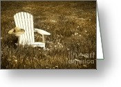 Straw Hat Greeting Cards - White chair with straw hat in a field Greeting Card by Sandra Cunningham