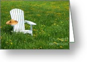 Straw Hat Greeting Cards - White chair with straw hat Greeting Card by Sandra Cunningham