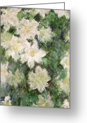 Flowery Greeting Cards - White Clematis Greeting Card by Claude Monet
