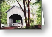 Covered Bridge Painting Greeting Cards - White Covered Bridge Greeting Card by Yvonne Hazelton