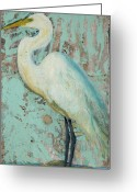 Pet Portrait Artists Greeting Cards - White Crane Greeting Card by Billie Colson