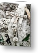 Burn Greeting Cards - White Crucifixion Greeting Card by Granger