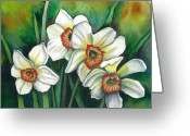 Botanical Drawings Greeting Cards - White Daffodils Greeting Card by Linda Kemp