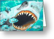 Marine Life Greeting Cards - White Greeting Card by Daniel Jean-Baptiste