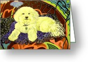 Impressionism Ceramics Greeting Cards - White Dog in garden Greeting Card by Patricia Lazar