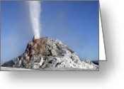 Mound Greeting Cards - White Dome Geyser Erupting, Upper Greeting Card by Richard Roscoe