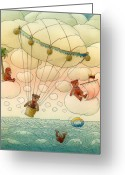 Clouds Drawings Greeting Cards - White Dream 02 Greeting Card by Kestutis Kasparavicius