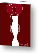 White Drawings Greeting Cards - White Dress Greeting Card by Frank Tschakert