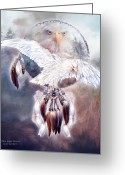 Bird Of Prey Mixed Media Greeting Cards - White Eagle Dreams 2 Greeting Card by Carol Cavalaris