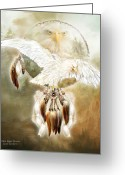 Bird Of Prey Mixed Media Greeting Cards - White Eagle Dreams Greeting Card by Carol Cavalaris