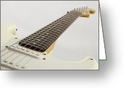 Museum Print Greeting Cards - White Electric Guitar on White Greeting Card by M K  Miller