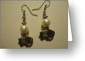 Earrings Jewelry Greeting Cards - White Elephant Earrings Greeting Card by Jenna Green