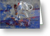Elephant Ride Greeting Cards - White Elephant Ride Abstract Greeting Card by Garry Gay