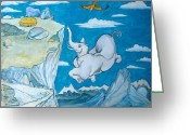Egg Tempera Painting Greeting Cards - White Elephant Greeting Card by Scott Cumming