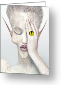 Womanly Greeting Cards - White Face Greeting Card by Yosi Cupano