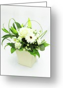 Directly Above Greeting Cards - White Flower Bouquet Greeting Card by  S.Musgrove