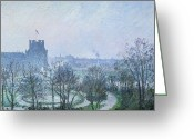 Tuileries Greeting Cards - White Frost Jardin des Tuileries Greeting Card by Camille Pissarro