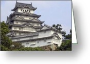 Middle Ages Greeting Cards - White Heron Castle - Himeji City Japan Greeting Card by Daniel Hagerman