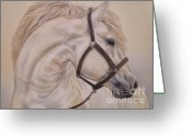 White White Horse Pastels Greeting Cards - White Horse Greeting Card by Irisha Golovnina