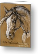 White White Horse Pastels Greeting Cards - White Horse Soft Pastel Sketch Greeting Card by Angel  Tarantella