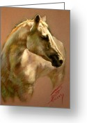 White White Horse Pastels Greeting Cards - White Horse Greeting Card by Ylli Haruni