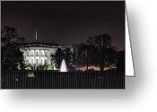 Star Greeting Cards - White House at Christmas Greeting Card by Metro DC Photography