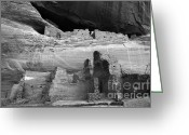 Ancient Ruins Greeting Cards - White House Ruin Canyon De Chelly Monochrome Greeting Card by Bob Christopher