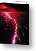 Storm Digital Art Greeting Cards - White Lightning Greeting Card by Vicky Brago-Mitchell