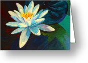 Koi Ponds Greeting Cards - White Lily III Greeting Card by Marion Rose