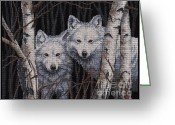 Wolves Mixed Media Greeting Cards - White Magic Greeting Card by J McCombie