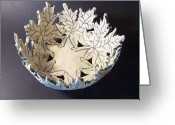 Hand Made Ceramics Greeting Cards - White Maple Leaf Bowl Greeting Card by Carolyn Coffey Wallace