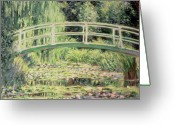 Waterlilies Greeting Cards - White Nenuphars Greeting Card by Claude Monet