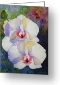 White Orchids Greeting Cards - White Orchids Greeting Card by Kerri Ligatich