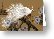 Exotic Bird Greeting Cards - White Peacock and Crape Myrtle Greeting Card by Linda Smith