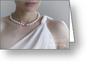 Pearl Necklace Greeting Cards - White Pearls Greeting Card by Eena Bo
