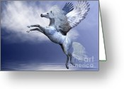 Fantasy Creature Greeting Cards - White Pegasus Greeting Card by Corey Ford