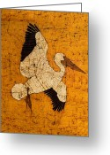 Pelican Tapestries - Textiles Greeting Cards - White Pelican Greeting Card by Alexandra  Sanders