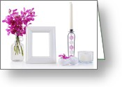 Oriental Flower Greeting Cards - White Picture Frame In Decoration Greeting Card by Atiketta Sangasaeng