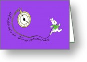 Mad Hatter Digital Art Greeting Cards - White Rabbit Greeting Card by Vava Fuller-quinn