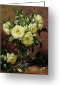 Floor Painting Greeting Cards - White Roses - A Gift from the Heart Greeting Card by Albert Williams