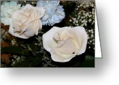 Babys Greeting Cards - White Roses for Helen II Greeting Card by Suzanne Gaff