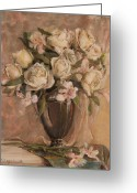 Silver Pitcher Greeting Cards - White Roses  Greeting Card by Katherine Seger