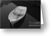 Black Greeting Cards - White Rowboat Greeting Card by Dave Gordon