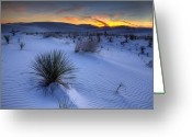 High Dynamic Range Greeting Cards - White Sands Sunset Greeting Card by Peter Tellone