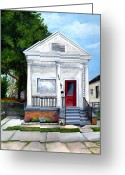 Red Door Greeting Cards - White Shotgun House Greeting Card by Elaine Hodges