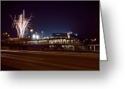 Home Run Greeting Cards - White Sox Homer Fireworks Greeting Card by Sven Brogren